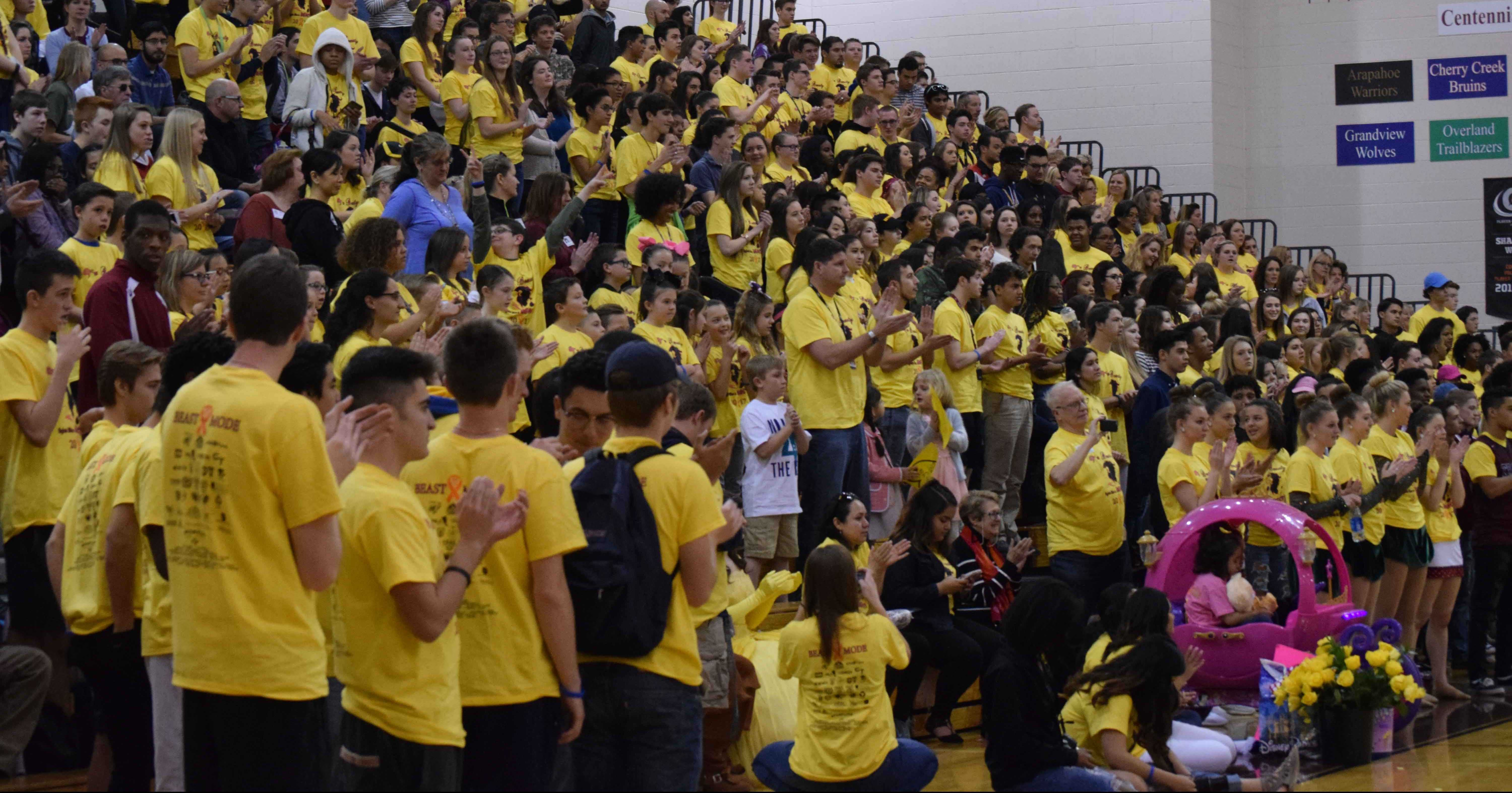 On the last day of wish week students pack the gym making a sea of yellow for Maya. The assembly was a huge hit and everyone was there for Maya.