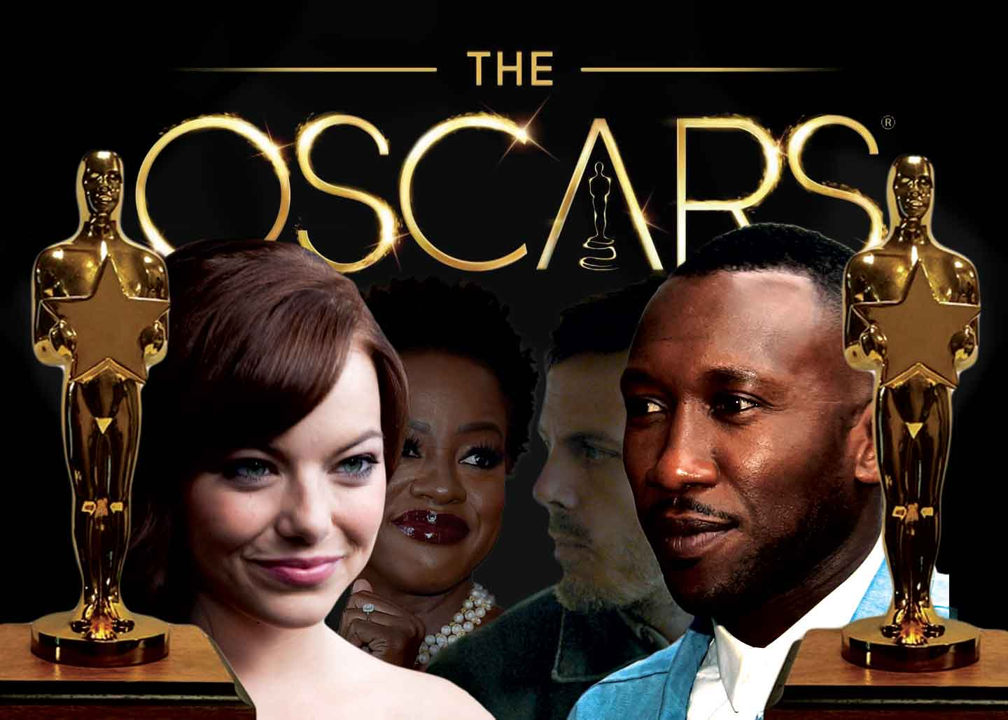 Four of the Oscar Nominated Actors in order of left to right, Emma Stone for best actress, Viola Davis for best supporting actress, Casey Affleck for best Actor, and Mahershala Ali for best supporting actor.