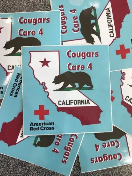 """Giving really sticks - As part of the campaign, students could receive """"Cougars Care for California"""" stickers for donating to support the wildfire victims in California or by signing the poster thanking the firefighters risking their lives to protect them. Adorning their water bottles, laptops, binders, or other accessories, the stickers can serve as a reminder to students of the impact of their simple acts of kindness on brave men and women and on those in need hundreds of miles away."""