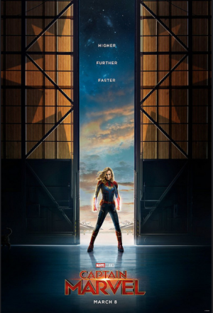 A poster for Marvel's Captain Marvel, depicting Captain Marvel herself showing off her cool powers and strong poses. The movie hit theatres a month ago on March 8, already making over $1 billion in the box office.