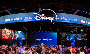 Disney fanatics take their seats in the Disney+ booth at Disney's convention, D23 Expo, which took place from August 23-August 25, 2019.
