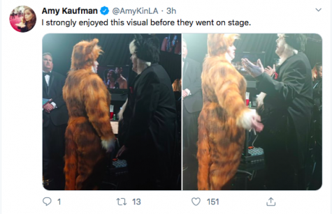 Behind the scenes at the 92nd Academy Awards, actors James Corden and Rebel Wilson shift in their  cat costumes from the fated movie that came out in 2019 to scathing reviews. Ironically, the pair announced Best Special Effects, a section they claimed to know the vitality of, which drew laughs from a knowing audience. The 92nd Oscars broke barriers in terms of foreign film and representation for all cultures, a star-studded night in its own right. Photo and Tweet courtesy of Amy Kaufman, journalist for the L.A. Times.