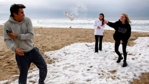 Students in California play with the fresh snow, remarking over the strangeness of snow in their sunny local town. This snow may not last, but it will certainly always be remembered.