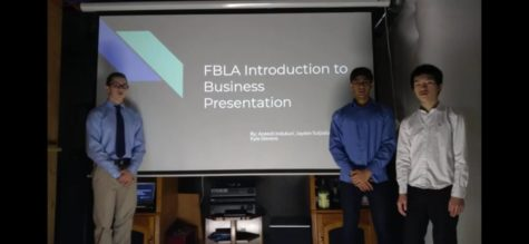 """Kyle Stevens (9), Aneesh Indukuri (9), Jayden Sutjiato (9) filmed their districts FBLA Presentation on Jan. 20. The three placed 3rd in their event.   Their accomplishment of qualifying is an example of perseverance in the struggling times """"We aced every single section,"""" Aneesh Indukuri (9) said. Even new members who originally had no interest can get excited over competing for this team."""