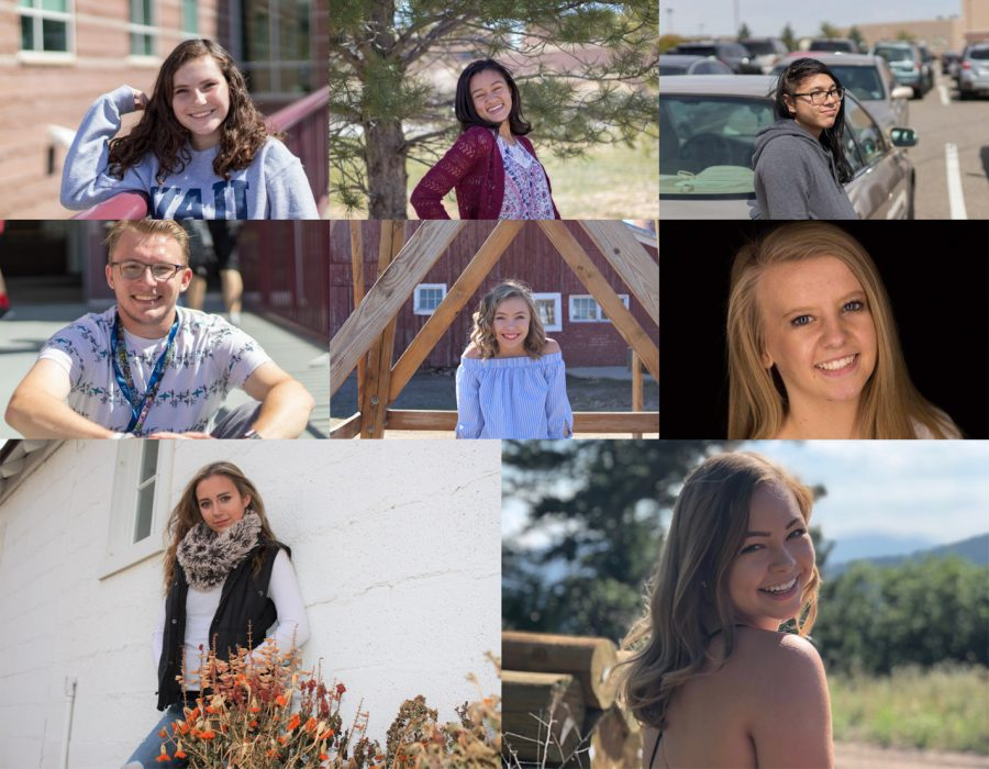 Top row left to right: Sara Stifter Design Editor (newspaper), Alani Casiano Copy Editor (newspaper), and Max Marucut staffer (newspaper).  Middle row left to right: Peyton Grattino Website Editor (newspaper), Genevieve Prejean Managing Editor (yearbook), and Brooke Buswell Gallery Editor (yearbook).  Bottom row left to right: Christina Crowder Design Editor (yearbook) and Kelly Miller Editor-in-Chief (yearbook).