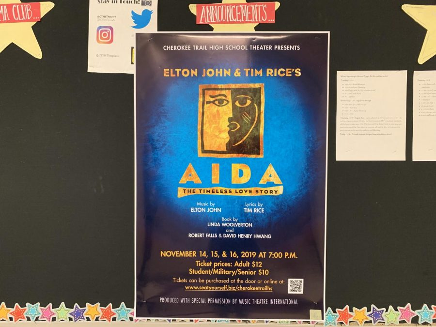 The poster for the upcoming school musical, Aida, hangs in the performing arts hallway on Nov. 8, 2019. The show will be performed on Nov. 14, 15, and 16 at 7:00 p.m. Tickets are ten dollars for students.