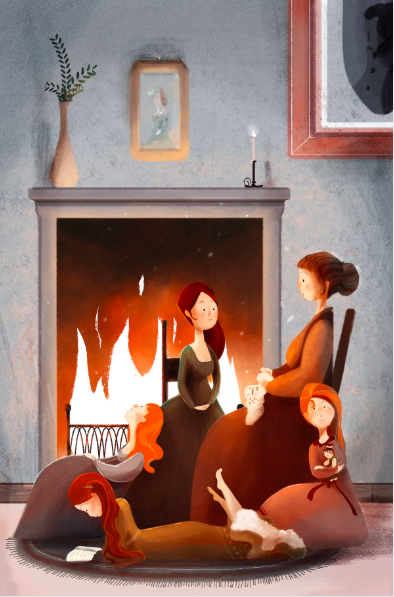 This graphic depicts Marmee, Meg, Jo, Amy, and Beth March in their home, demonstrating the novel Little Women by Louisa May Alcott in its entirety, set during the Civil War.  The film, featuring Saoirse Ronan, Timothee Chalamet, Laura Dern, and Florence Pugh, amongst others like Emma Watson and Meryl Streep, debuted on Christmas Day, 2019, grossing $12 million in its first two days. The film was a heartening success to viewers like CTHSToday.org's reviewer, Elyse Sommer. Photo courtesy of Giulia Lombardo (CC BY-NC-ND 4.0)